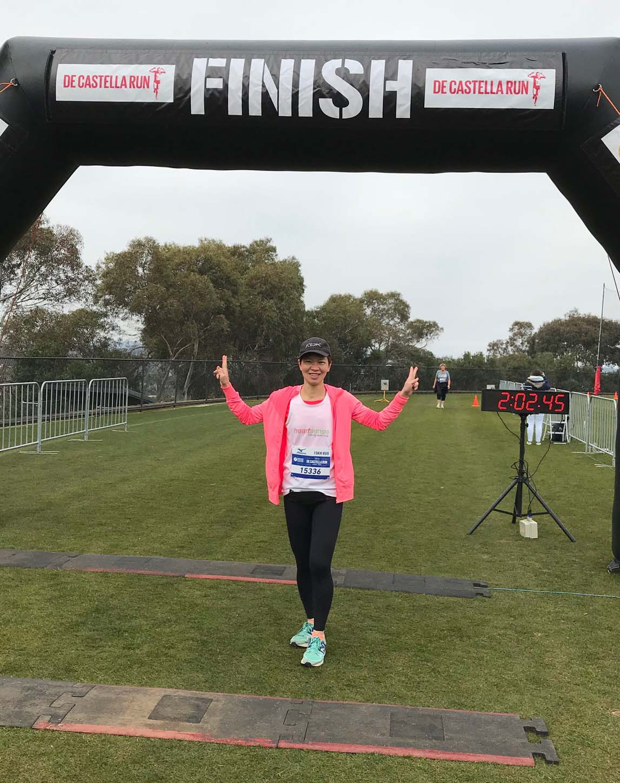 Jane Ng, owner of Heartsense, completing a run